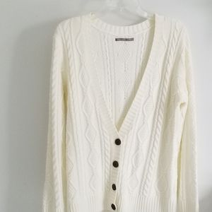 Rubbish white cable knit cardigan sweater XL